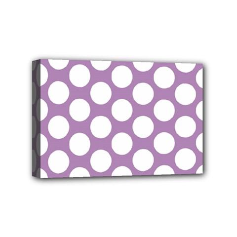 Lilac Polkadot Mini Canvas 6  x 4  (Framed)