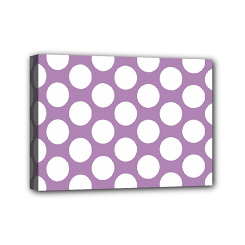 Lilac Polkadot Mini Canvas 7  X 5  (framed)