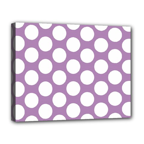 Lilac Polkadot Canvas 14  x 11  (Framed)