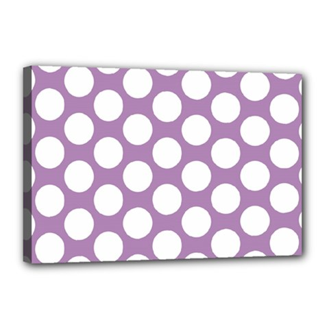 Lilac Polkadot Canvas 18  x 12  (Framed)