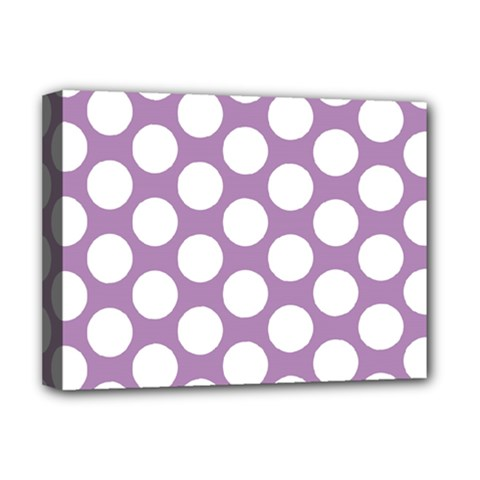 Lilac Polkadot Deluxe Canvas 16  x 12  (Framed)