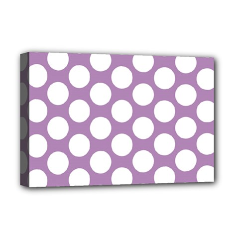 Lilac Polkadot Deluxe Canvas 18  x 12  (Framed)