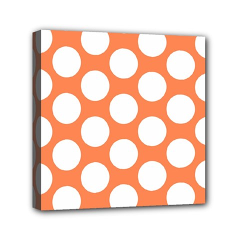 Orange Polkadot Mini Canvas 6  X 6  (framed)