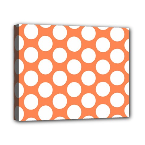 Orange Polkadot Canvas 10  x 8  (Framed)
