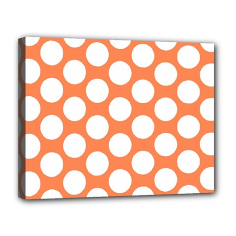 Orange Polkadot Canvas 14  X 11  (framed)
