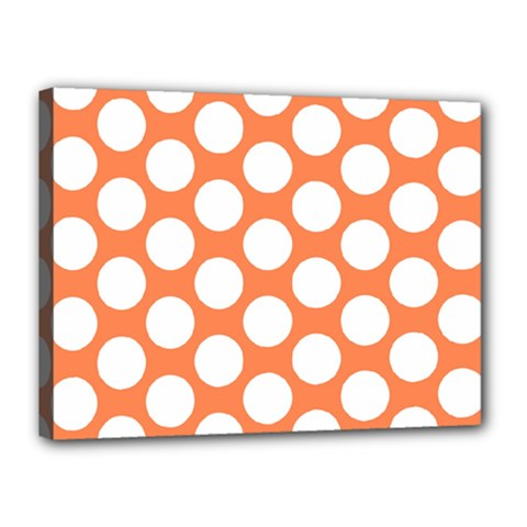 Orange Polkadot Canvas 16  x 12  (Framed)