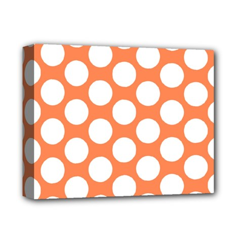 Orange Polkadot Deluxe Canvas 14  X 11  (framed)