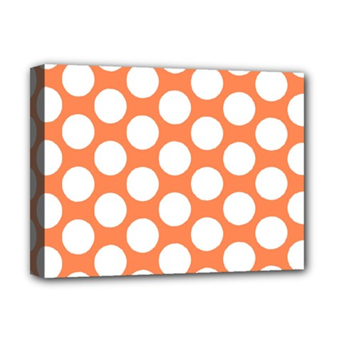 Orange Polkadot Deluxe Canvas 16  x 12  (Framed)
