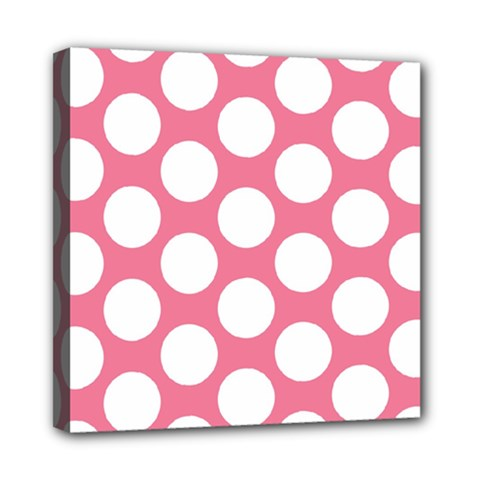 Pink Polkadot Mini Canvas 8  x 8  (Framed)