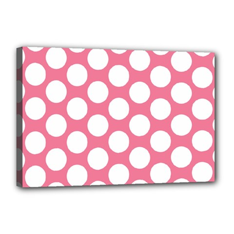 Pink Polkadot Canvas 18  x 12  (Framed)