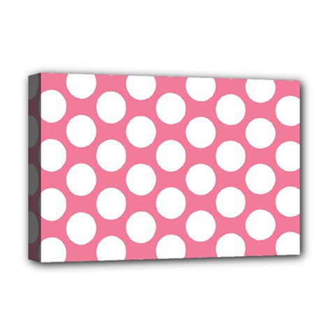 Pink Polkadot Deluxe Canvas 18  x 12  (Framed)