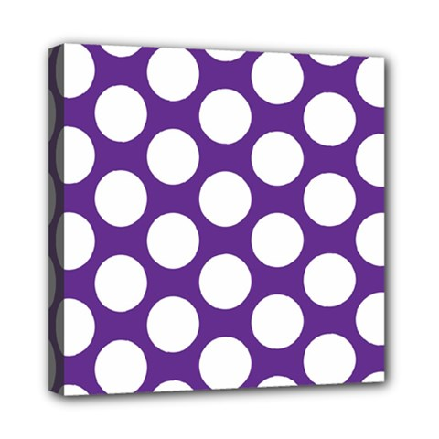 Purple Polkadot Mini Canvas 8  x 8  (Framed)