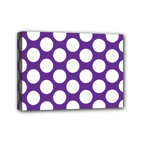 Purple Polkadot Mini Canvas 7  X 5  (framed)