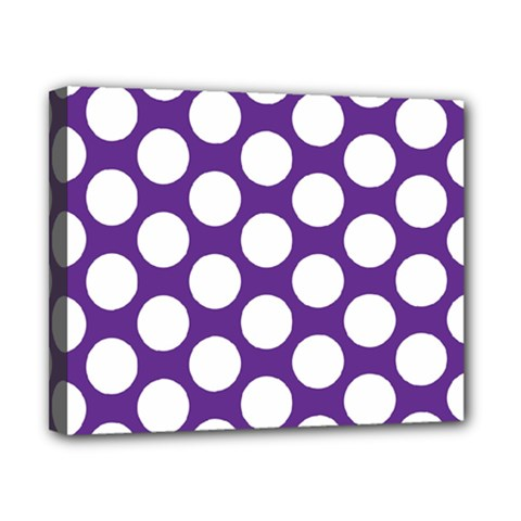 Purple Polkadot Canvas 10  x 8  (Framed)