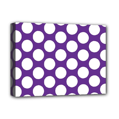 Purple Polkadot Deluxe Canvas 16  x 12  (Framed)