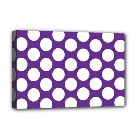 Purple Polkadot Deluxe Canvas 18  X 12  (framed)