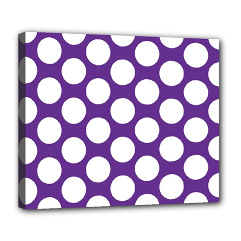 Purple Polkadot Deluxe Canvas 24  x 20  (Framed)