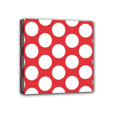 Red Polkadot Mini Canvas 4  X 4  (framed)