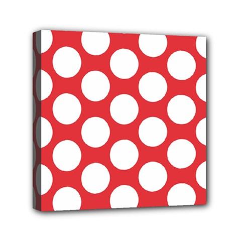 Red Polkadot Mini Canvas 6  x 6  (Framed)