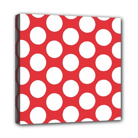 Red Polkadot Mini Canvas 8  x 8  (Framed)