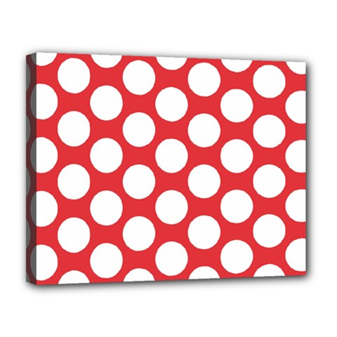 Red Polkadot Canvas 14  x 11  (Framed)