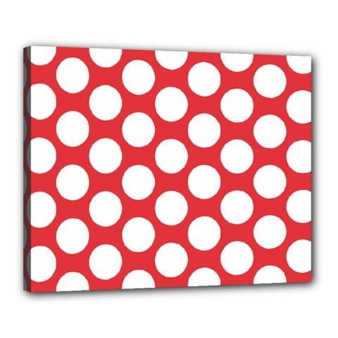 Red Polkadot Canvas 20  x 16  (Framed)