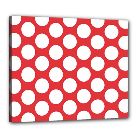 Red Polkadot Canvas 24  x 20  (Framed)