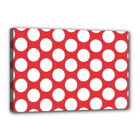 Red Polkadot Canvas 18  X 12  (framed)