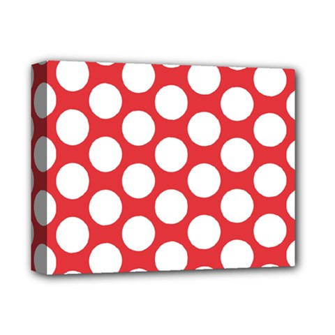 Red Polkadot Deluxe Canvas 14  x 11  (Framed)