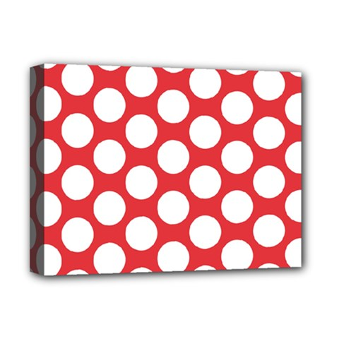Red Polkadot Deluxe Canvas 16  X 12  (framed)