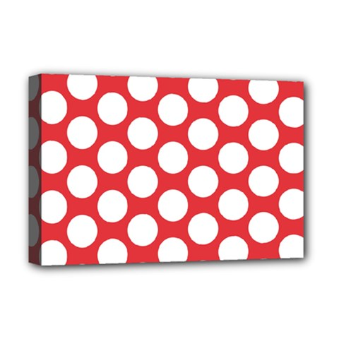Red Polkadot Deluxe Canvas 18  x 12  (Framed)