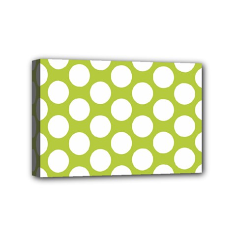 Spring Green Polkadot Mini Canvas 6  x 4  (Framed)