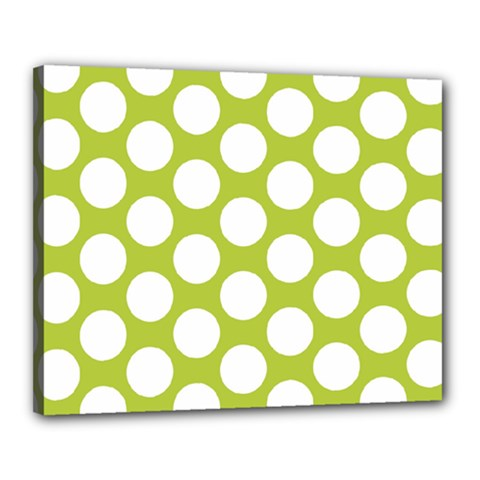 Spring Green Polkadot Canvas 20  x 16  (Framed)
