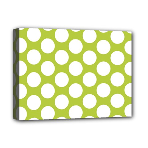 Spring Green Polkadot Deluxe Canvas 16  x 12  (Framed)