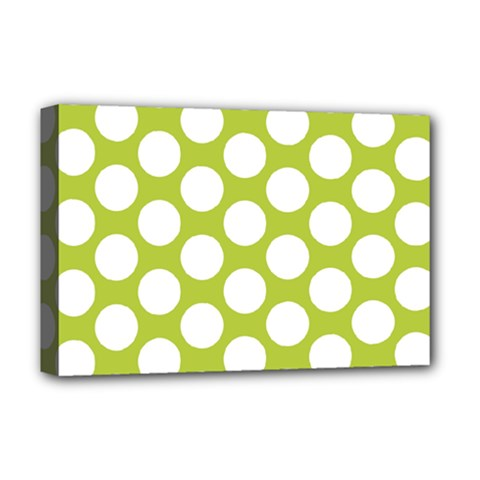 Spring Green Polkadot Deluxe Canvas 18  x 12  (Framed)