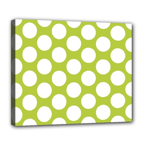 Spring Green Polkadot Deluxe Canvas 24  X 20  (framed)