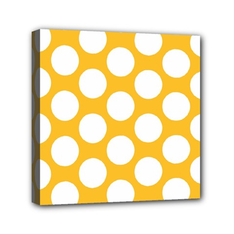 Sunny Yellow Polkadot Mini Canvas 6  x 6  (Framed)
