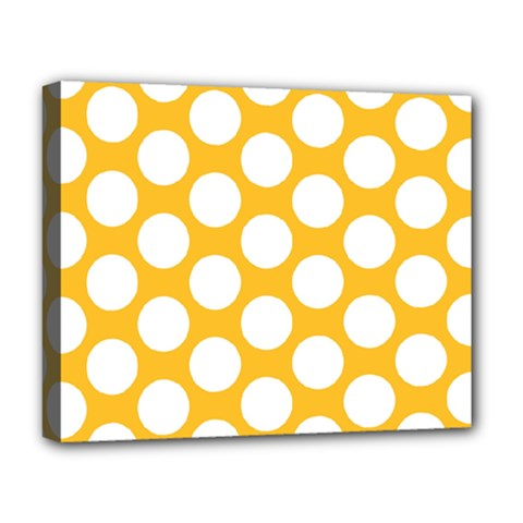 Sunny Yellow Polkadot Deluxe Canvas 20  X 16  (framed)