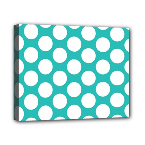 Turquoise Polkadot Pattern Canvas 10  x 8  (Framed)