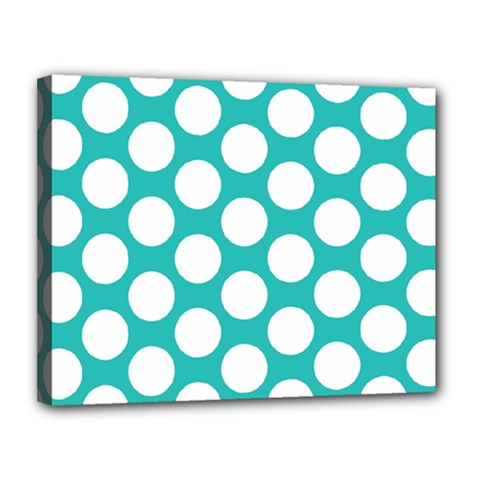 Turquoise Polkadot Pattern Canvas 14  x 11  (Framed)