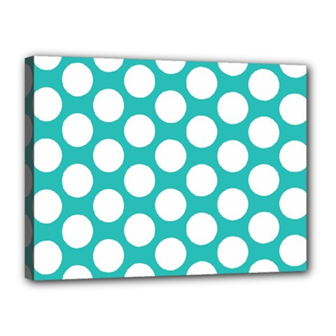 Turquoise Polkadot Pattern Canvas 16  X 12  (framed)