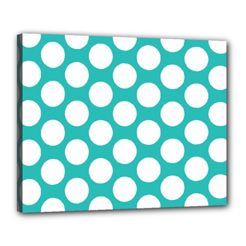 Turquoise Polkadot Pattern Canvas 20  x 16  (Framed)