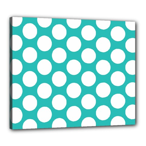 Turquoise Polkadot Pattern Canvas 24  x 20  (Framed)