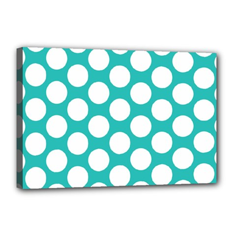 Turquoise Polkadot Pattern Canvas 18  x 12  (Framed)