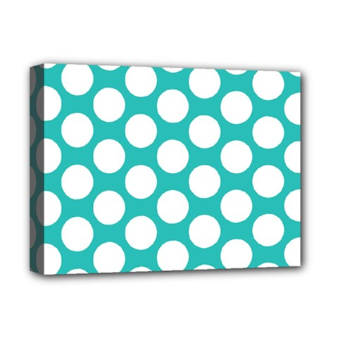 Turquoise Polkadot Pattern Deluxe Canvas 16  x 12  (Framed)