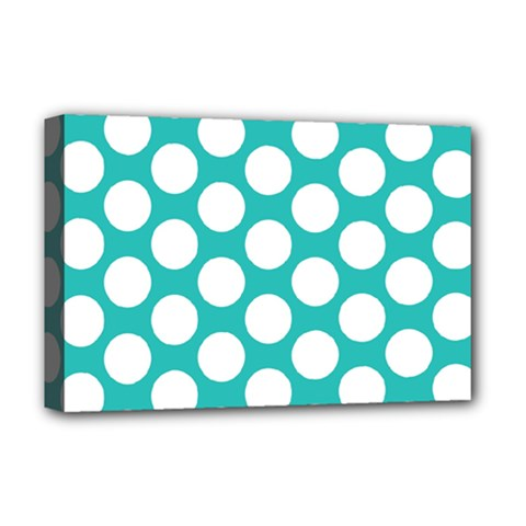Turquoise Polkadot Pattern Deluxe Canvas 18  x 12  (Framed)