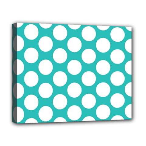 Turquoise Polkadot Pattern Deluxe Canvas 20  x 16  (Framed)