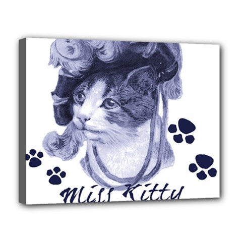 Miss Kitty Blues Canvas 14  X 11  (framed)