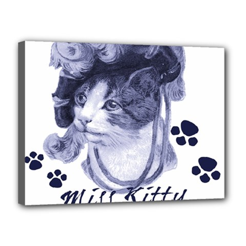Miss Kitty blues Canvas 16  x 12  (Framed)