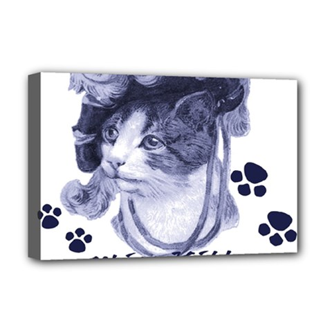 Miss Kitty blues Deluxe Canvas 18  x 12  (Framed)